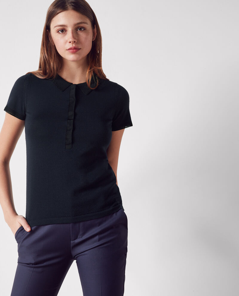 Polo fino de lana Dark navy/black Clou