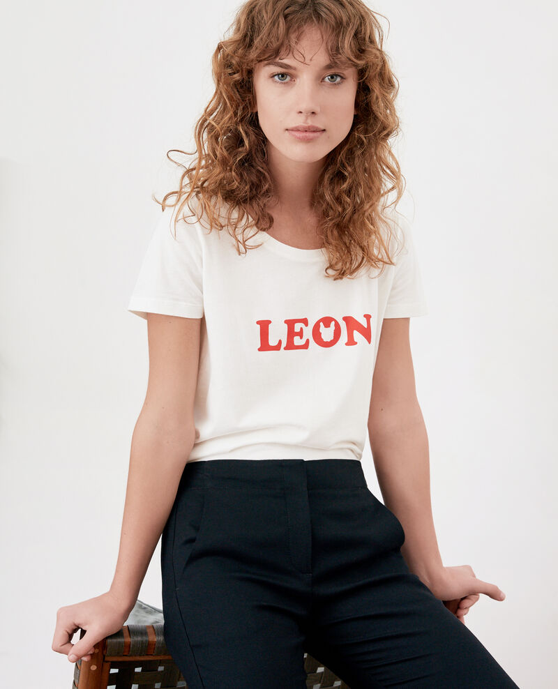 Camiseta con impresión Léon OFF WHITE/LOLLIPOP