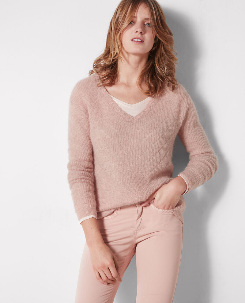 Jersey con lana y mohair Peach Cookie