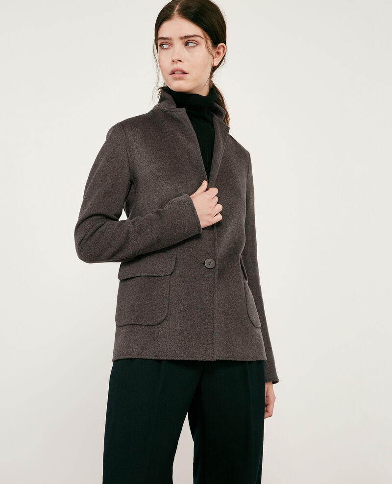 Chaqueta de lana con doble cara Dark heather grey Dalibaba