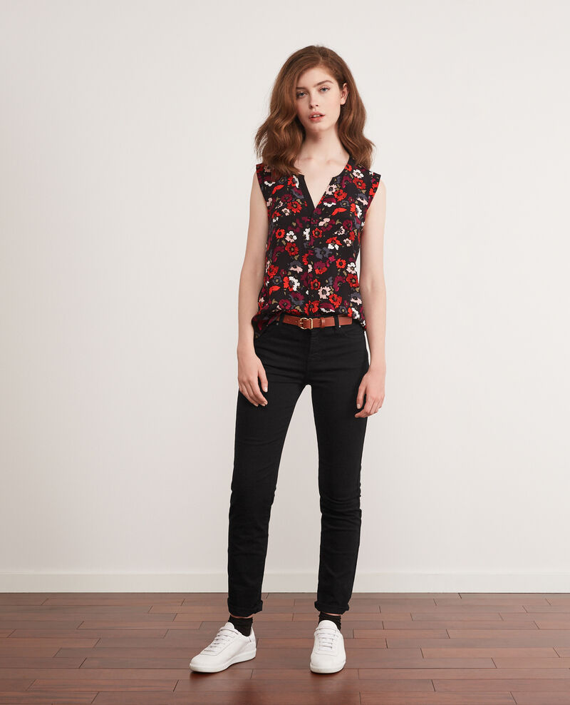 Blusa con escote cruzado estampada Poppies black Donjuan