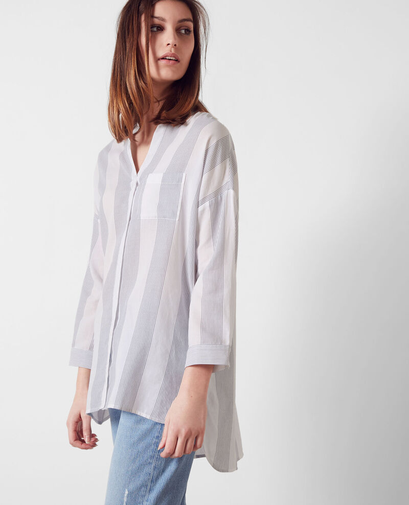 Camisa oversize de algodón Off white/midnight Cineclub