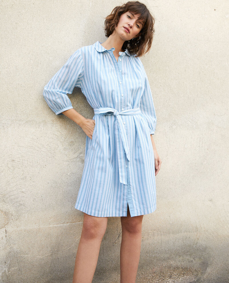 Vestido camisero Adriatic/off white stripes Gardenia