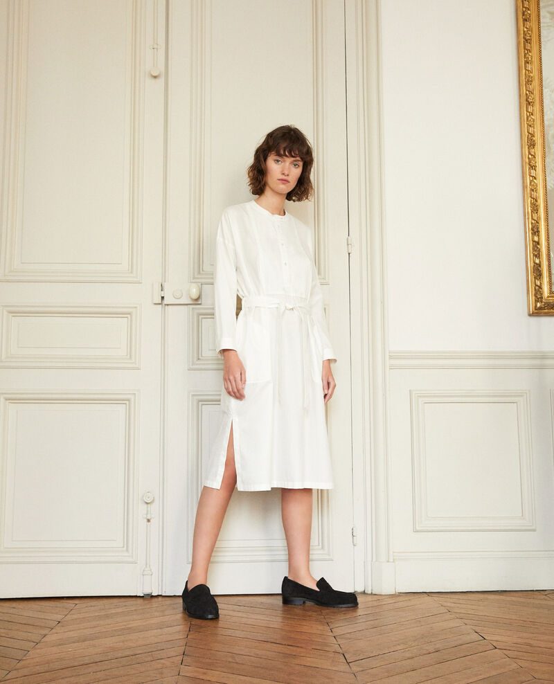 Vestido con pechera OFF WHITE