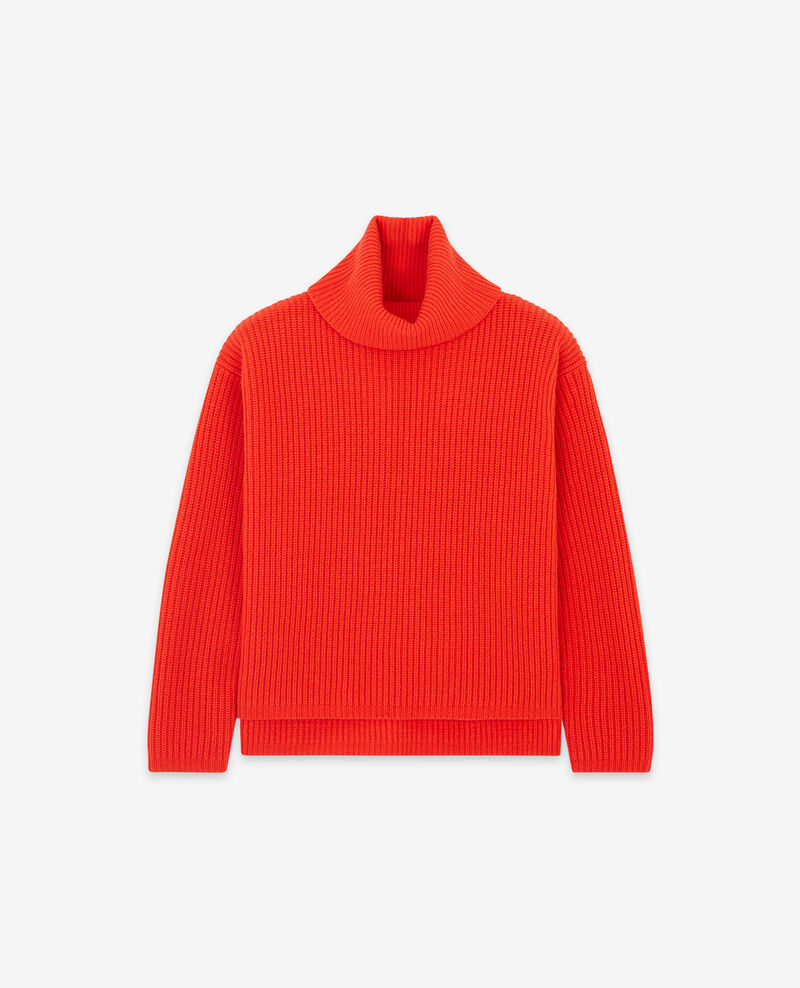 Jersey con cuello vuelto 100 % Lana Orange red Dacheville