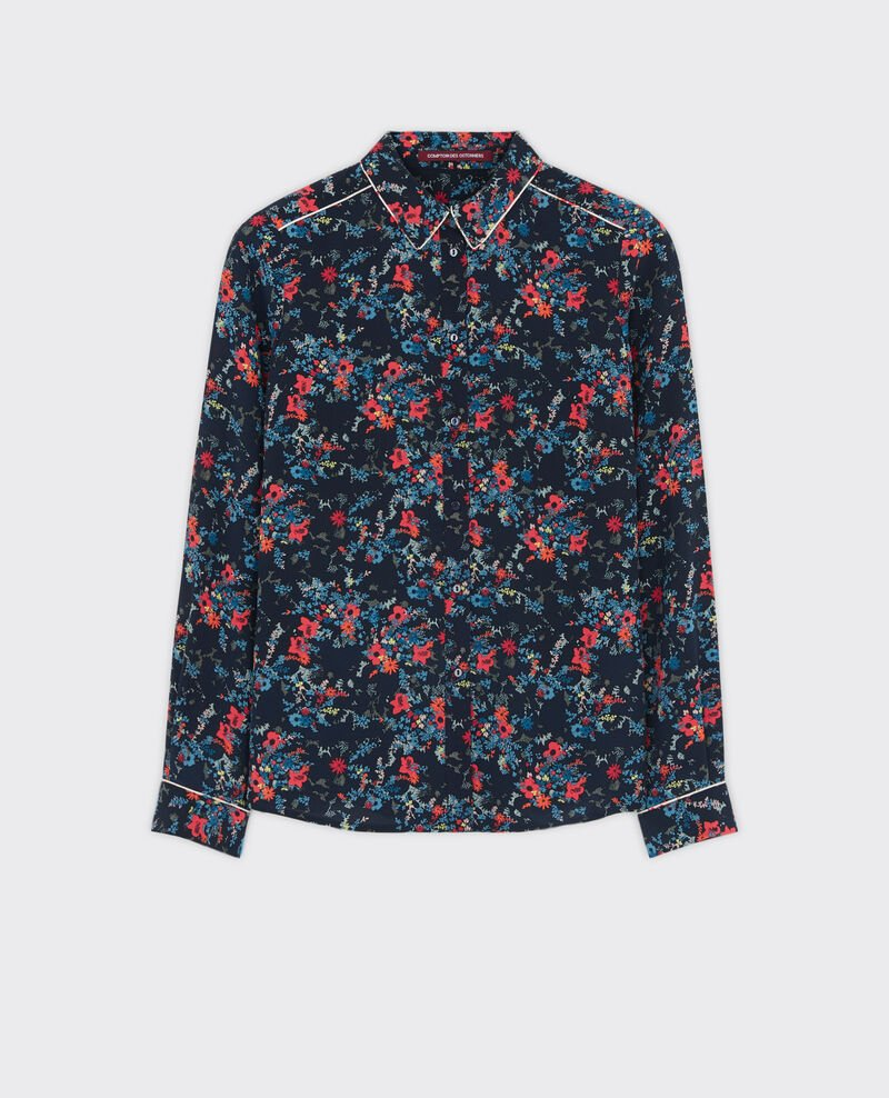 Camisa de seda estampada Bouquet leaves dark navy Chifoumi