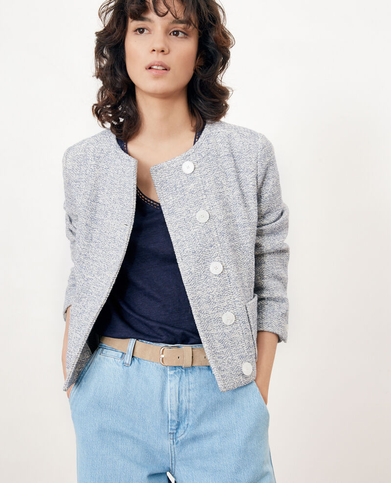 Chaqueta corta de tweed INDIGO/OFF WHITE
