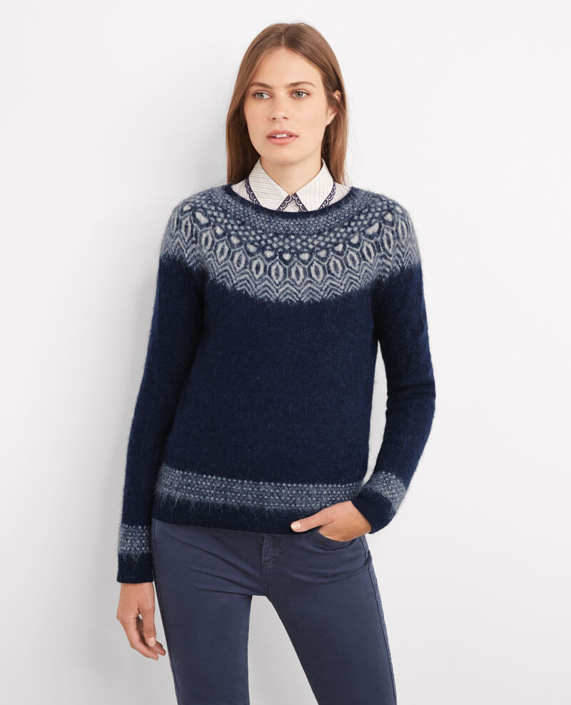 Jersey jacquard con alpaca y mohair Twilight/off white Babassi