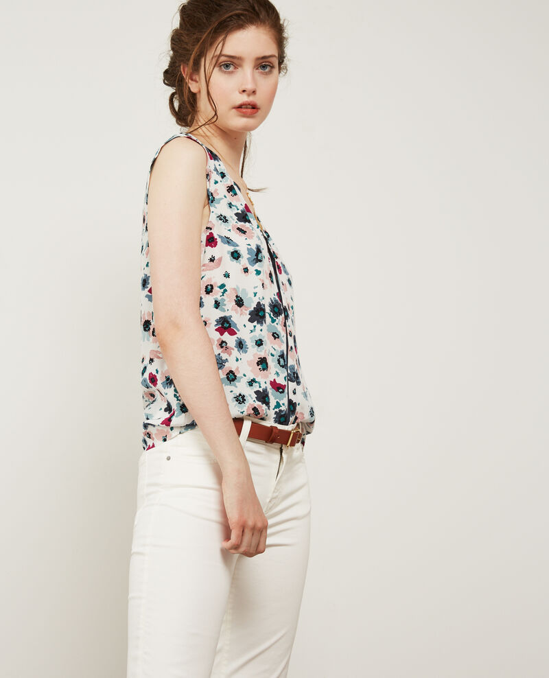 Blusa con escote cruzado estampada Poppies off white Donjuan