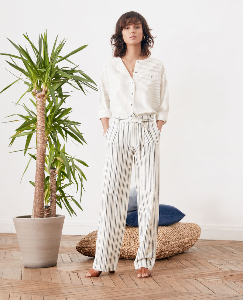 Pantalón ancho rayado OFF WHITE/NAVY STRIPES