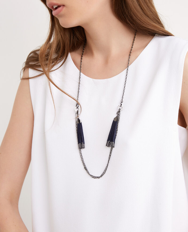 Collar con borlas de cuero Dark ocean Betty