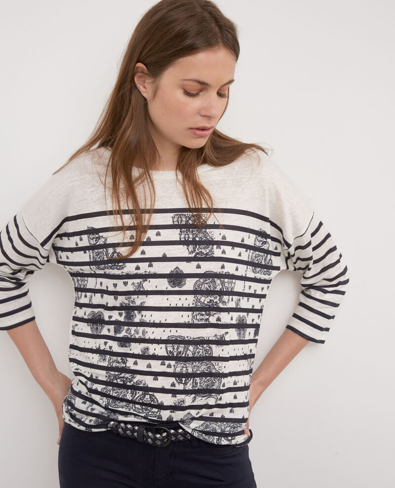 Camiseta marinera estampada Off white/twilight Bevissage
