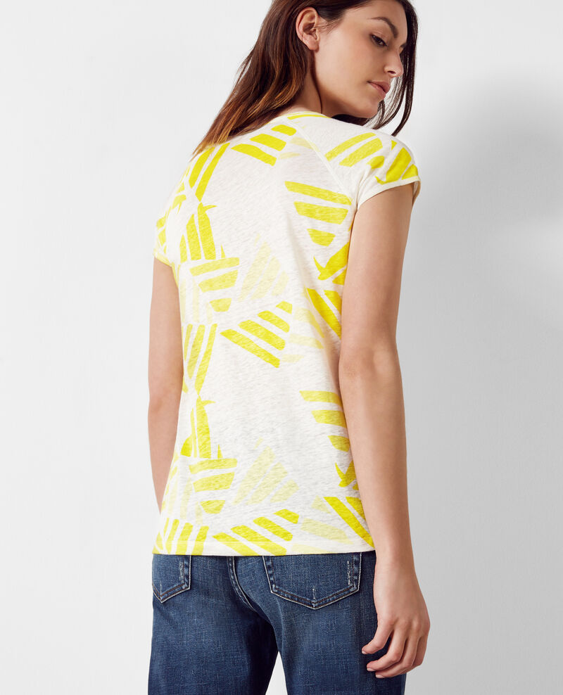Camiseta de lino estampada Banana leaves bouton d'or Caspienne