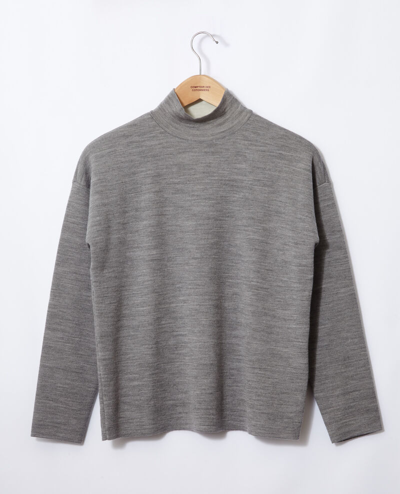 Jersey de doble cara de lana merino Light heather grey/off white Gibbon