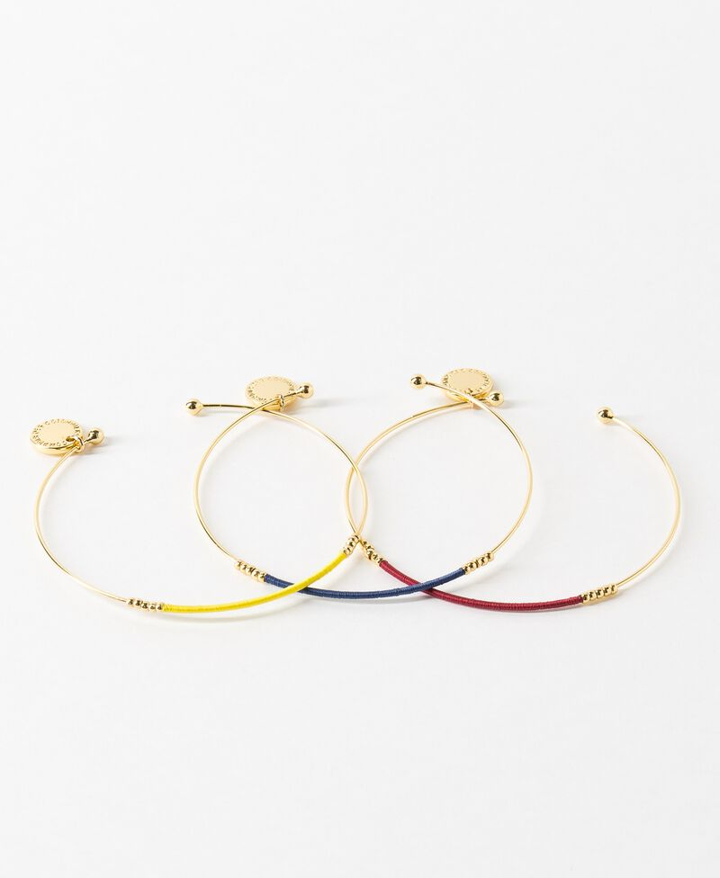 Lote de 3 pulseras Ink blue/bouton d'or/raspberry Charade