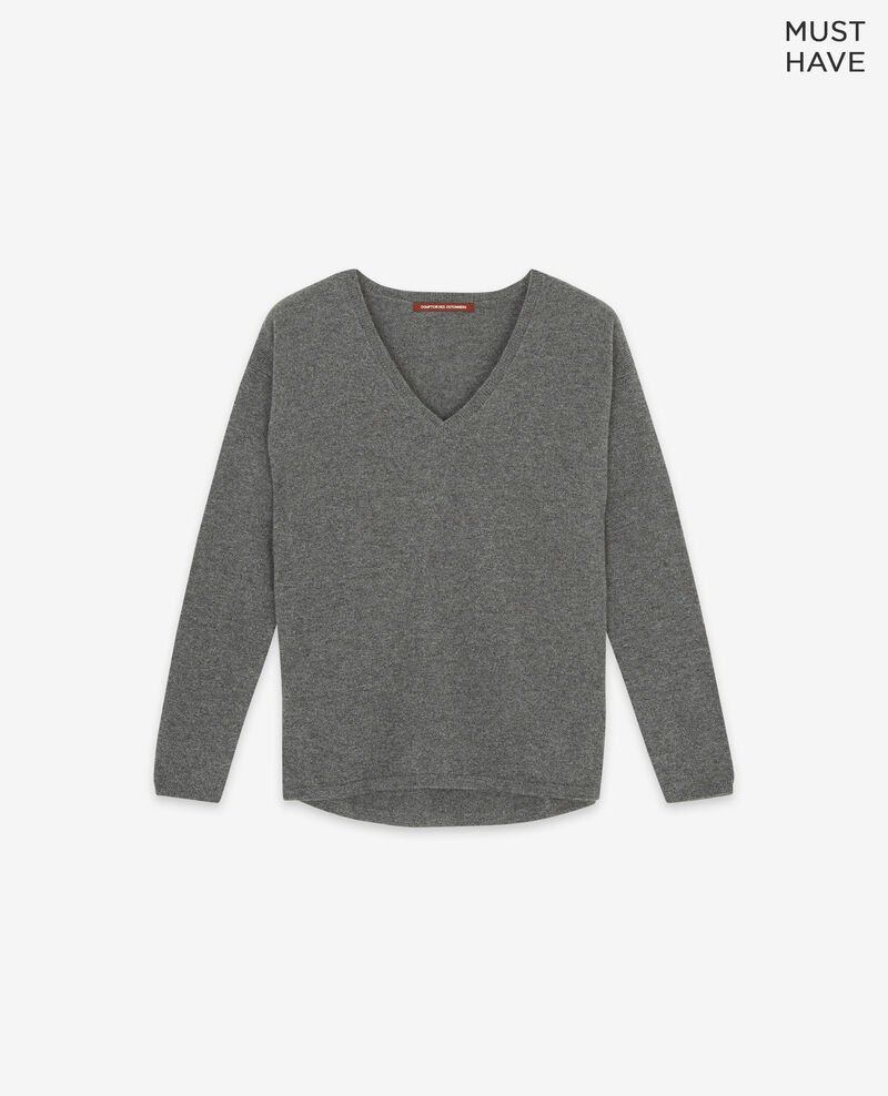- Jersey 100 % de cachemir Dark heather grey Dudoux