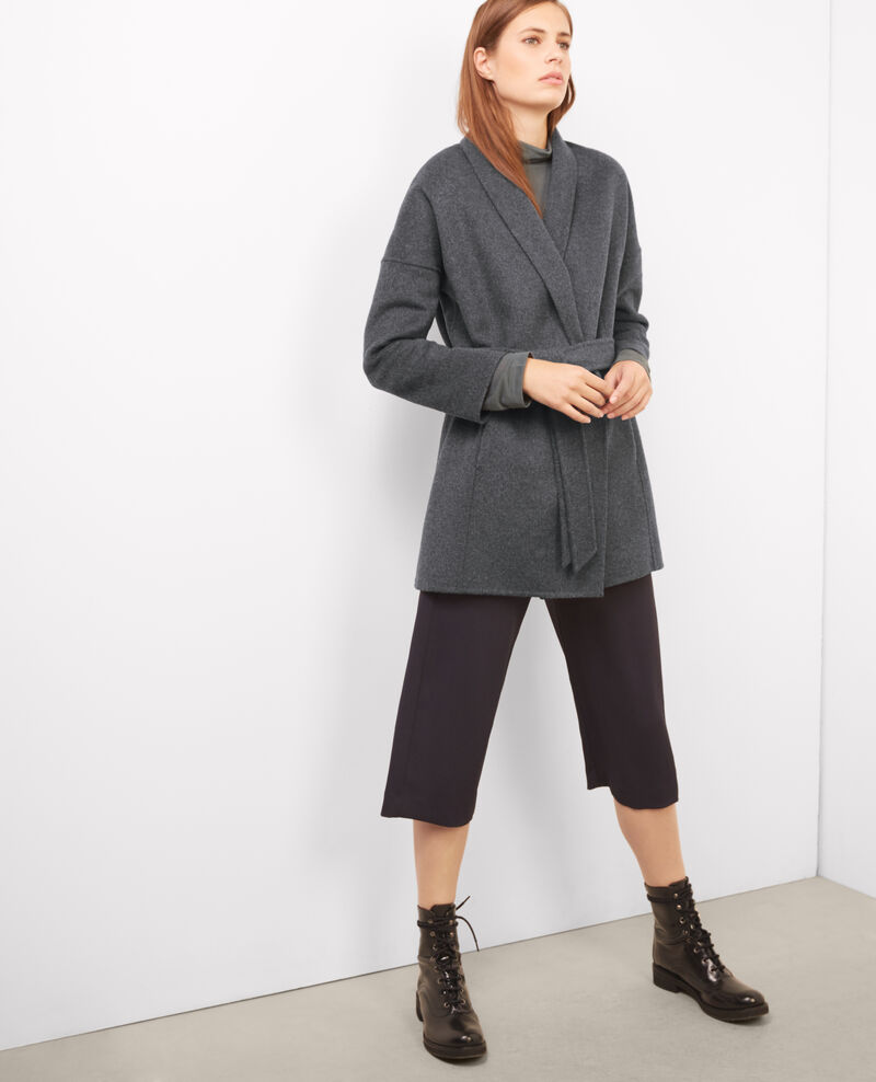 Abrigo con lana Dark heather grey Bonbi