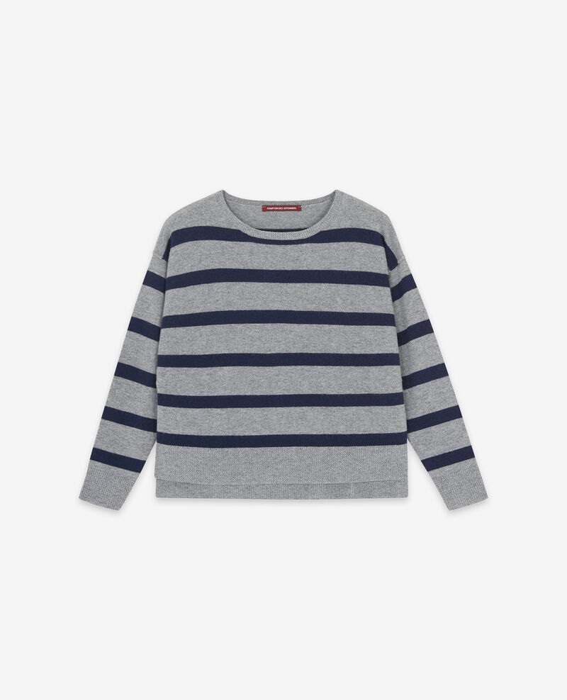 - Jersey rayado 100 % de cachemir Medium heather grey/navy Delamer