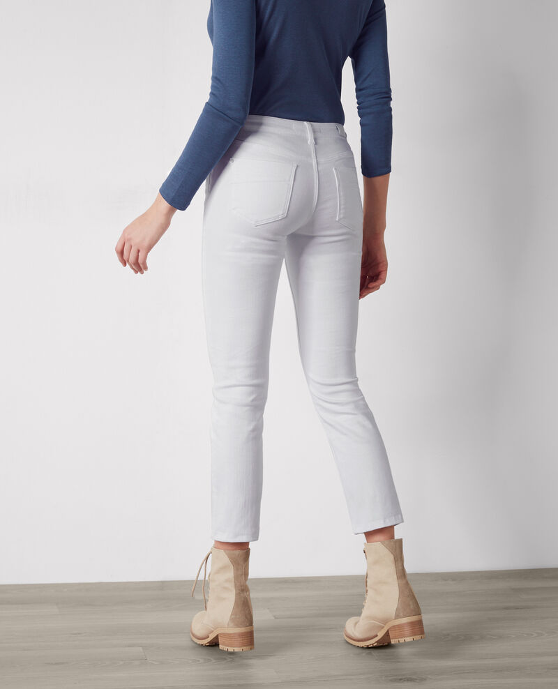 "Jeans rectos cropped ""Fille dans le vent"" Off white Coyotte"