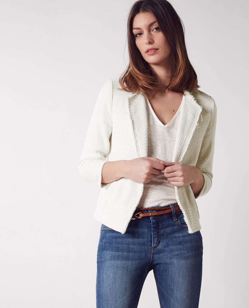 Chaqueta abierta de tweed Off white Chaton