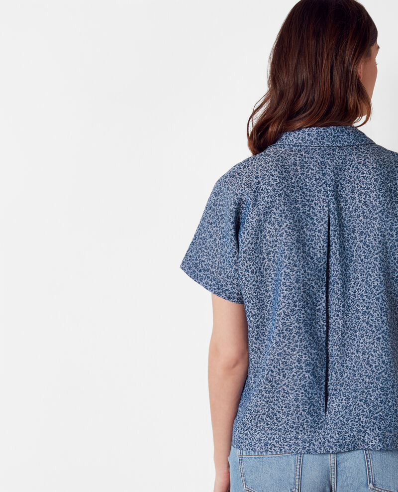 Camisa estampada de lino Linen meadow indigo Cauliflower
