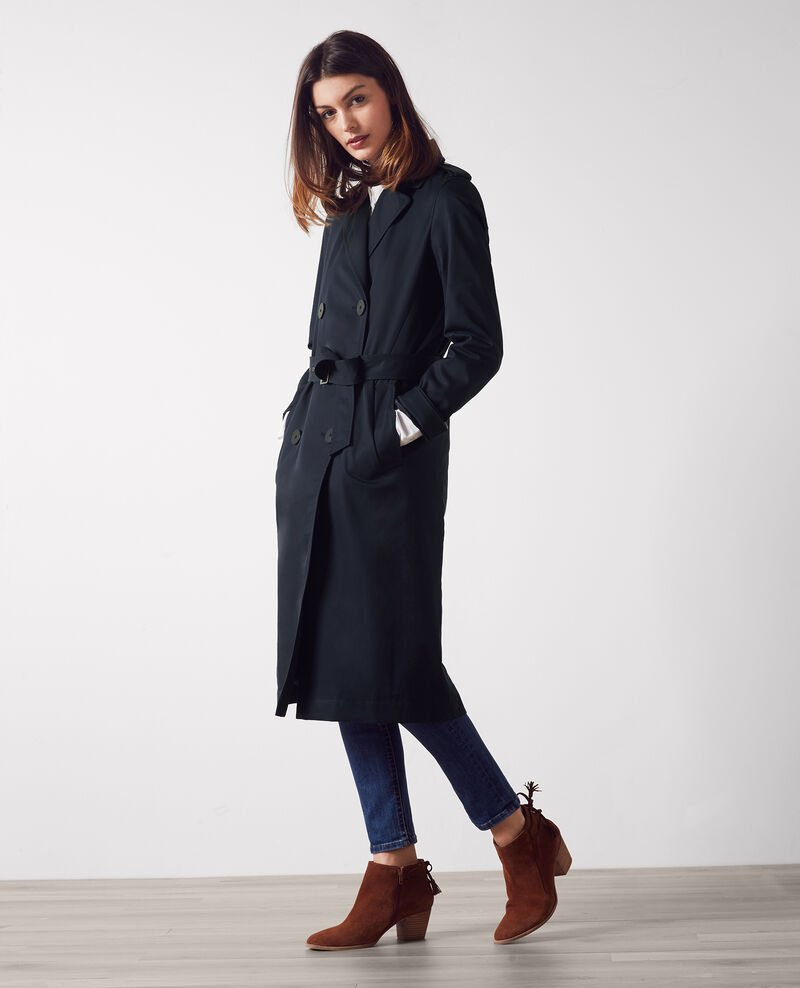 Trench largo clásico con forro desmontable Dark navy Cable