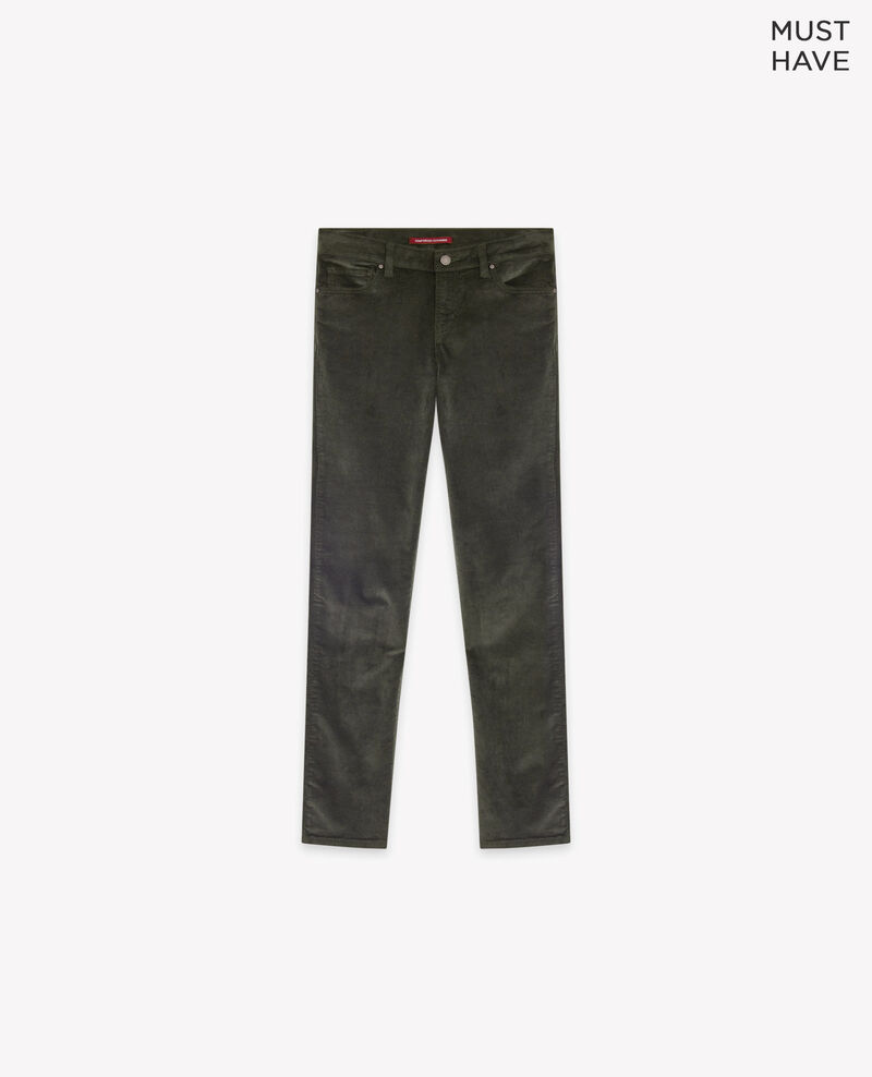 Pantalón cigarette de terciopelo stretch Deep green Decharpe