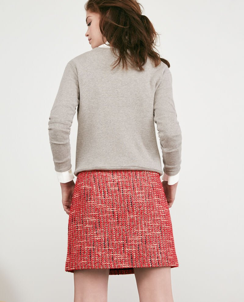 Falda de tweed Orange red Doulon