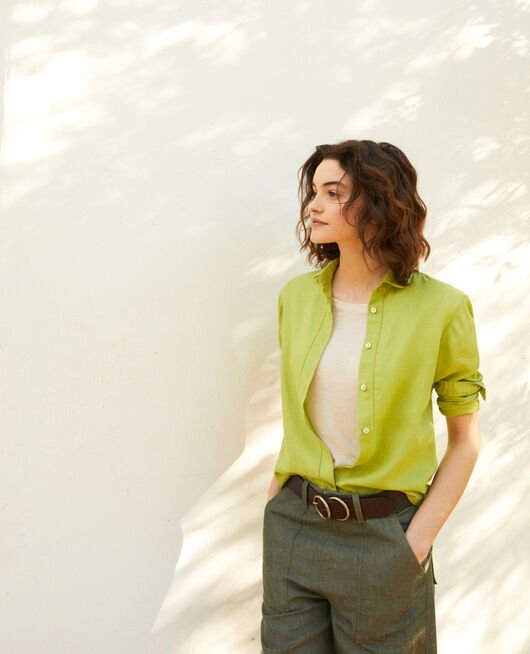 Camisa de lino LIME GREEN