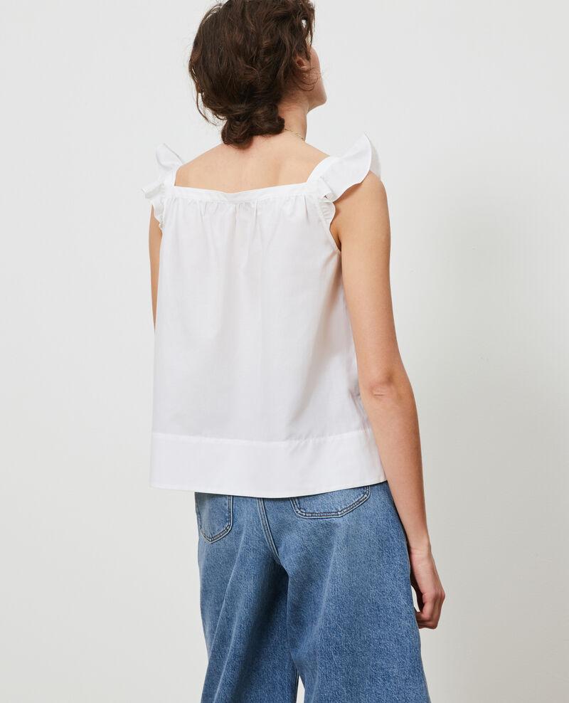Top con tirantes de algodón y seda Brilliant white Nymphie