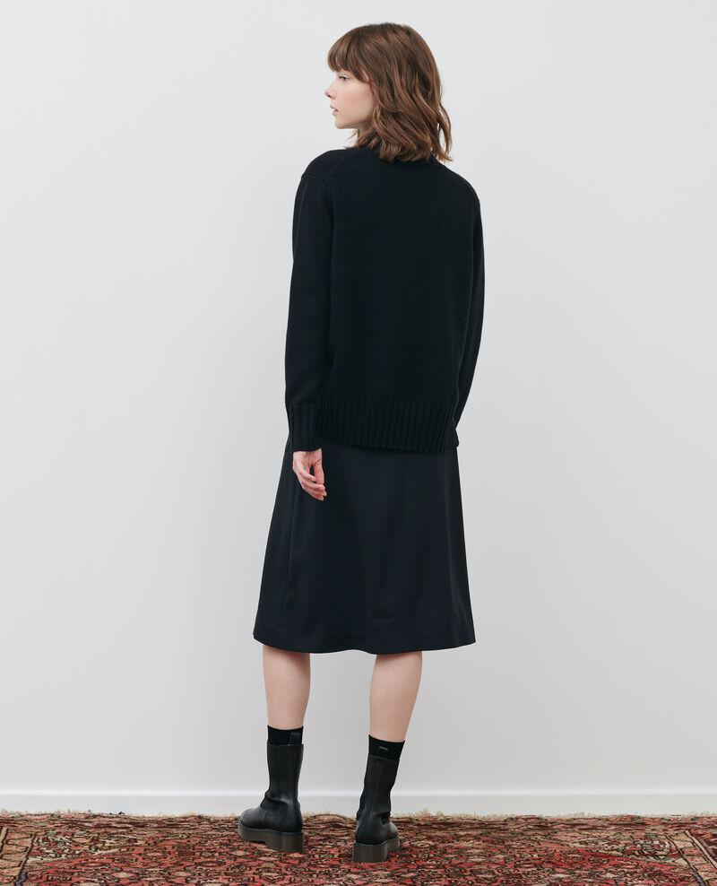 Jersey de lana con anchos canalés Black beauty Parques
