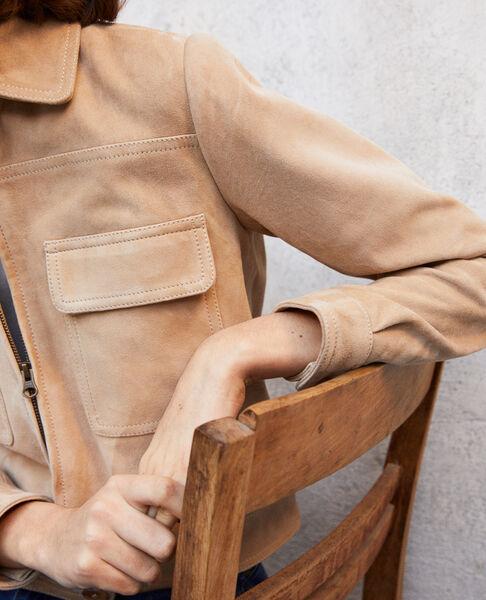 Comptoir des Cotonniers - Chaqueta corta de ante Camel beige - 6