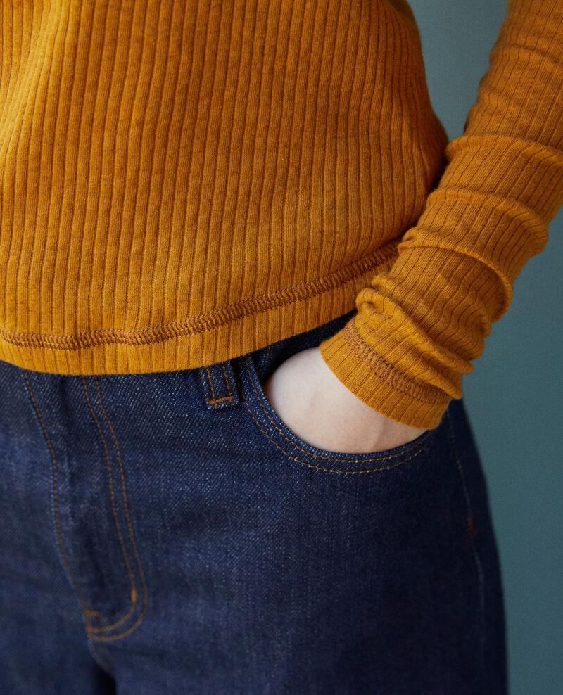 Camiseta con tira de botones Golden brown Grila