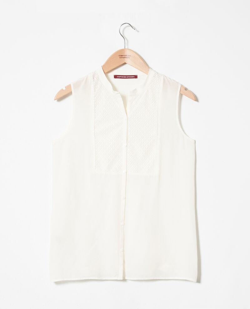 Blusa con pechera de encaje de seda Coconut milk Jandros