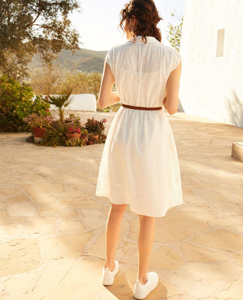 Vestido camisero de algodón bordado Off white Illisme