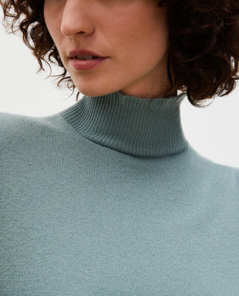 Jersey fino de cachemir 3D con cuello alto con cremallera Chinois green Mane