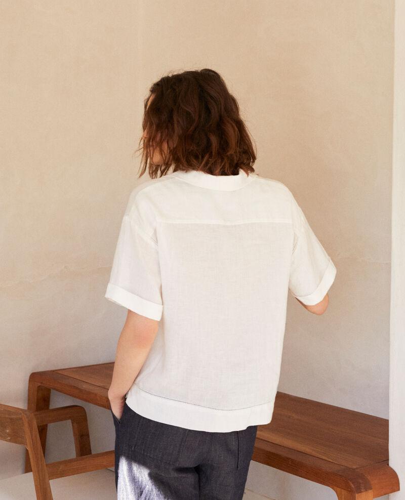 Camisa con cuello abierto de lino Off white Ilage