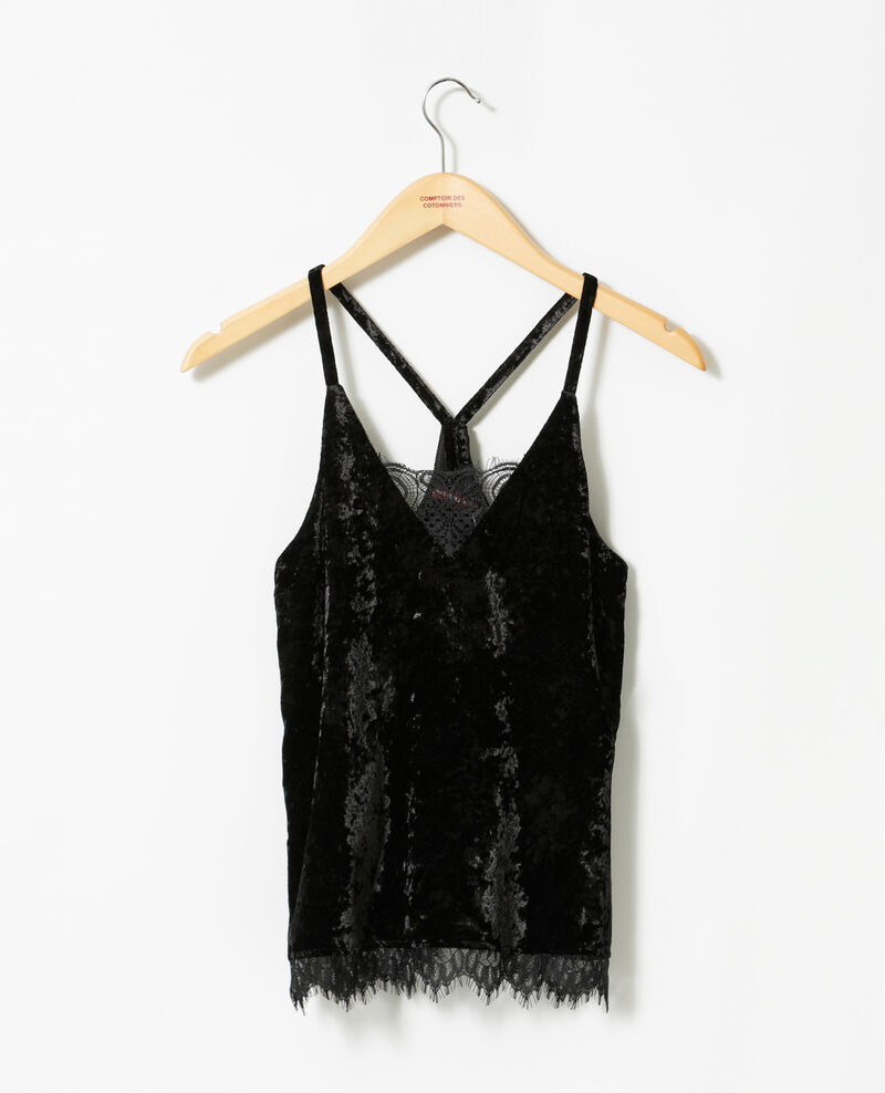 Camiseta sin mangas de terciopelo con encaje Negro Gloriane