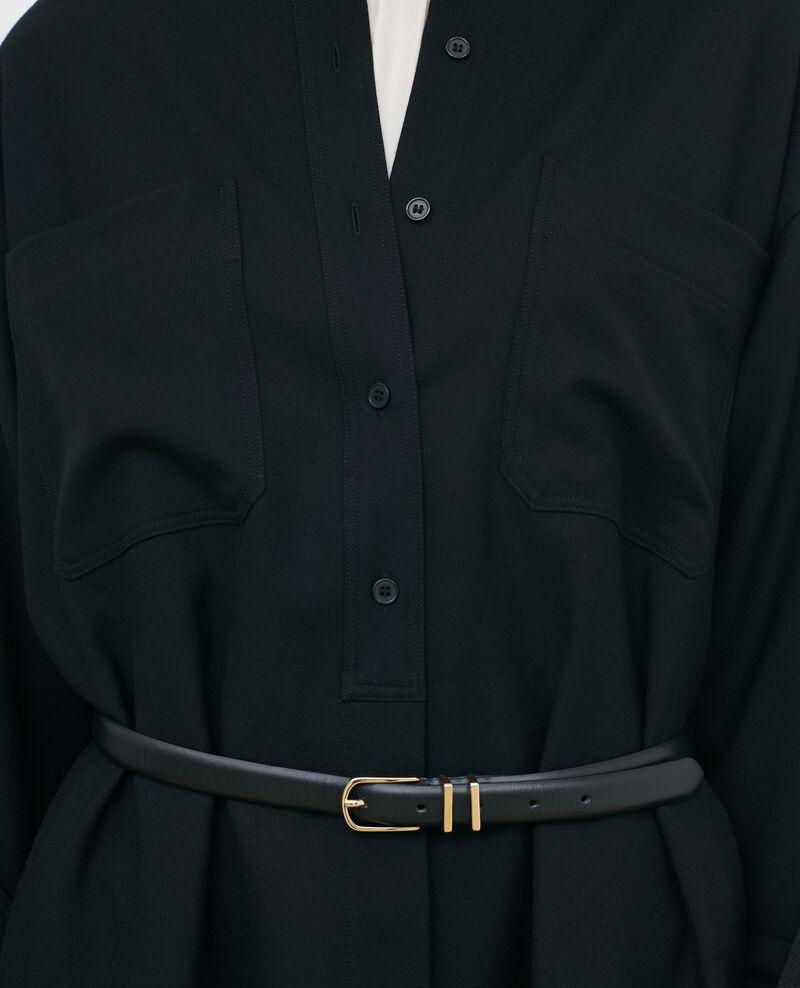 Vestido camissero corto oversize Black beauty Paillarde