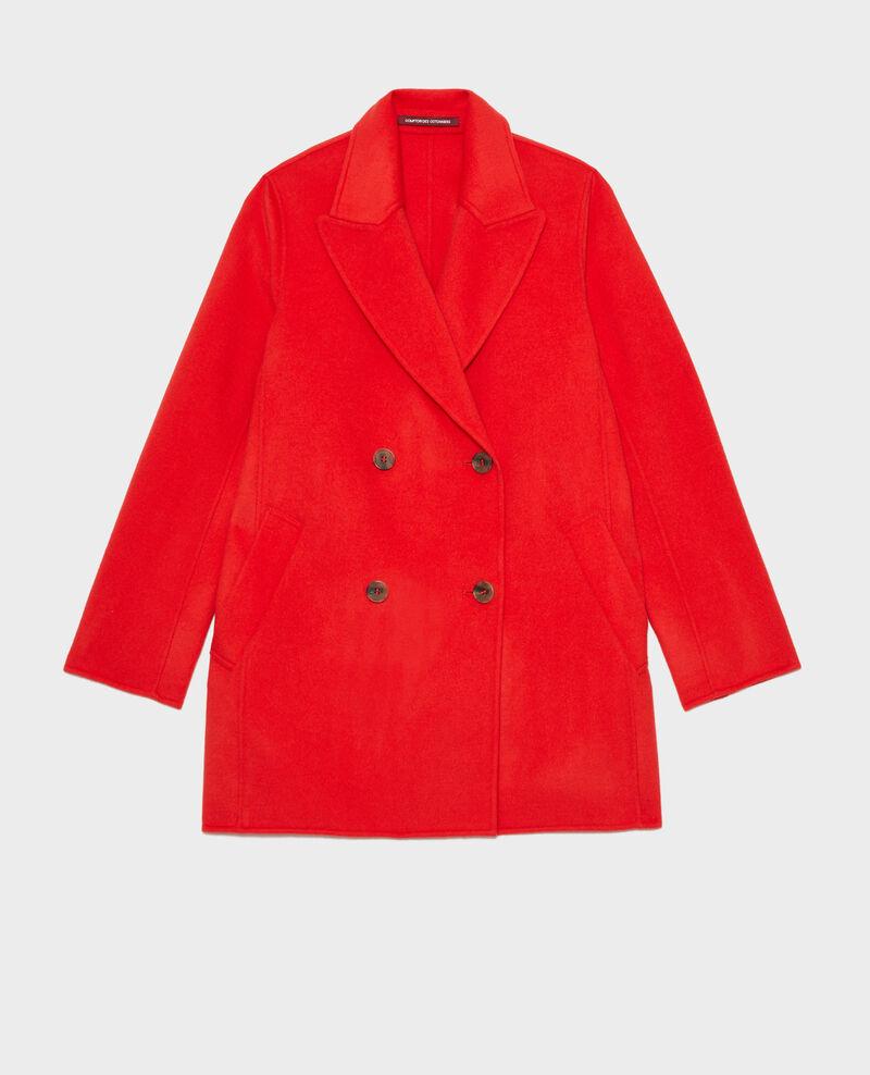 Abrigo tipo chaquetón de lana doble cara Fiery red Lintot