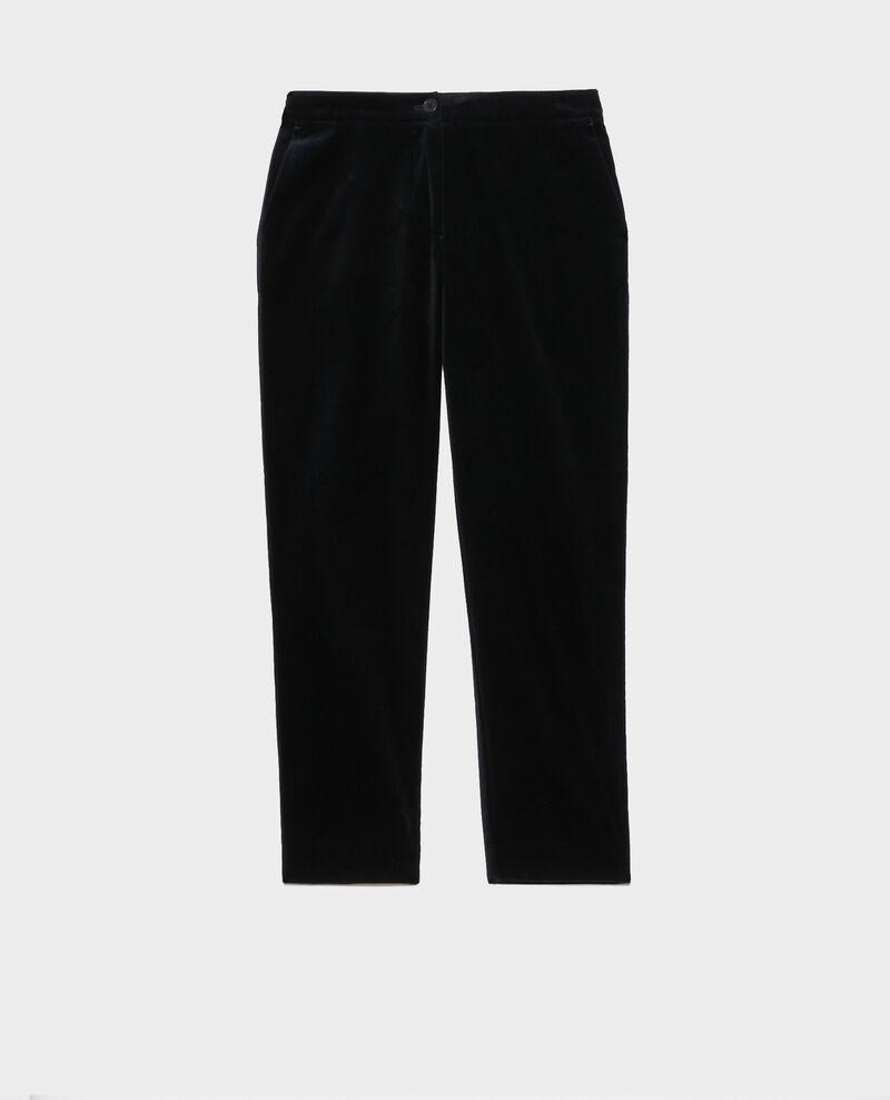 Pantalón MARGUERITE, 7/8 de terciopelo de algodón Navy deep Poko