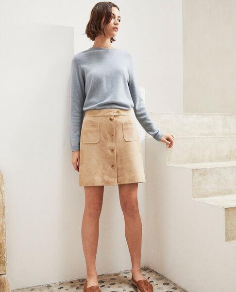 Comptoir des Cotonniers - Falda corta de ante Camel beige - 1