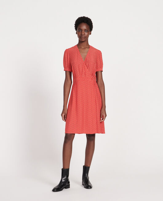 Vestido de seda cruzado MEMPHIS FIERY RED