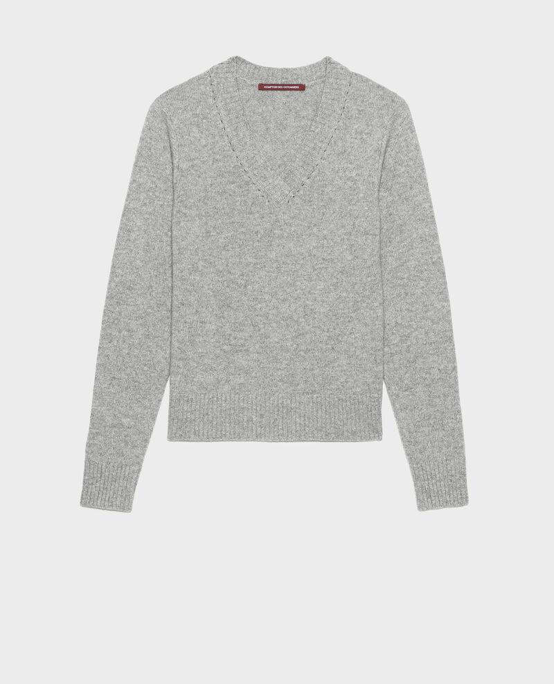 Jersey de cachemir con cuello de pico Light grey melange Millac