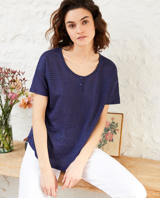 Camiseta brillante con lino SAPPHIRE NAVY