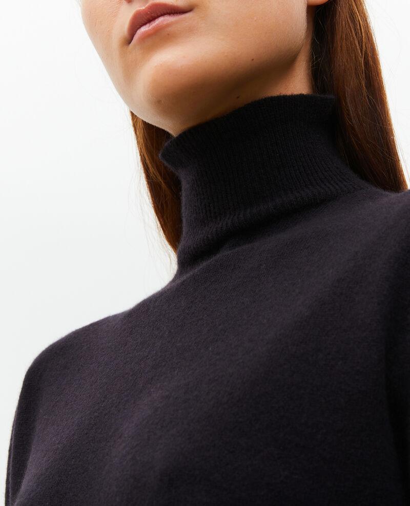 Jersey fino de cachemir 3D con cuello alto con cremallera Black beauty Mane