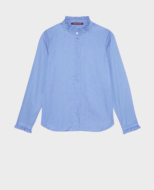 Camisa de algodón cuello subido con volante BLUE AS PROTO