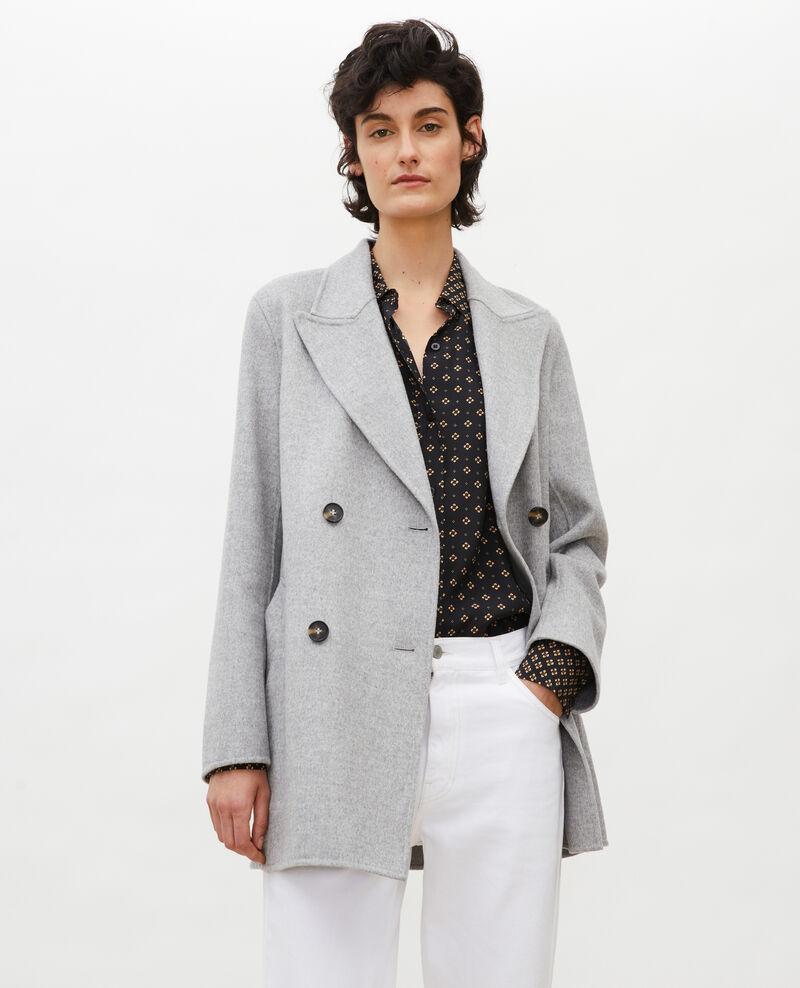 Abrigo tipo chaquetón de lana doble cara Light grey Lintot