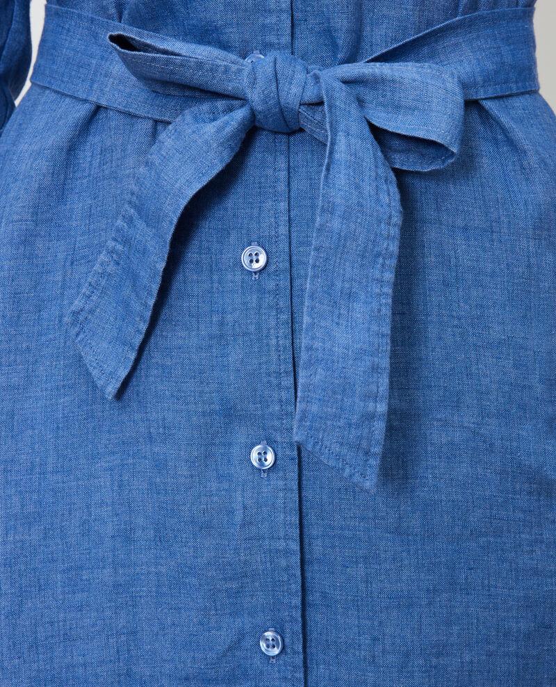 Vestido camisero de lino Indigo Lesprit