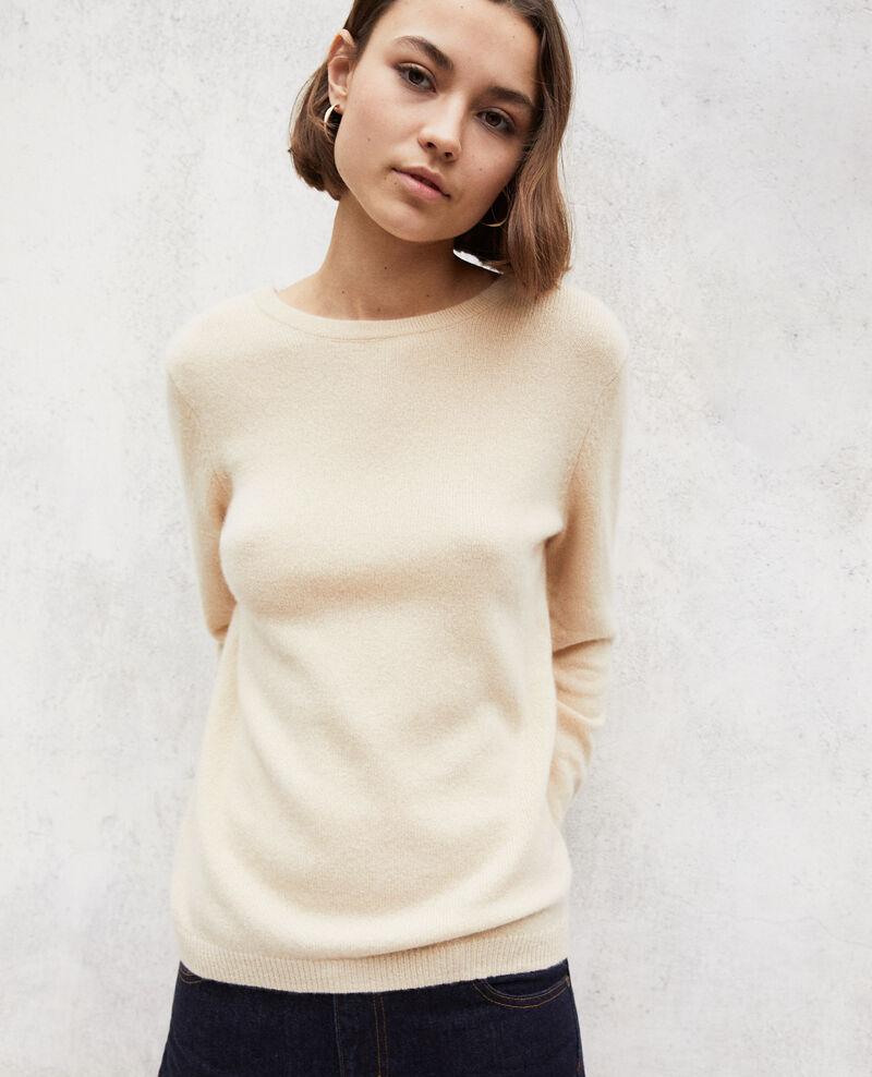 Jersey cuello redondo de cachemir Light beige Ixela